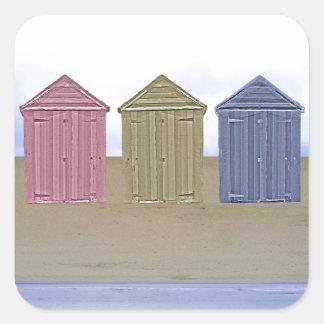 Beach Huts Art Square Sticker