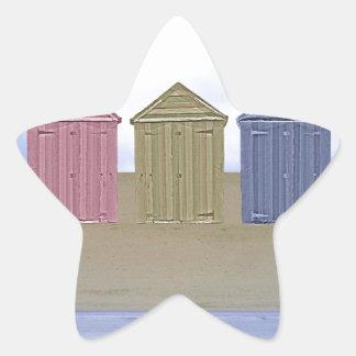 Beach Huts Art Star Sticker