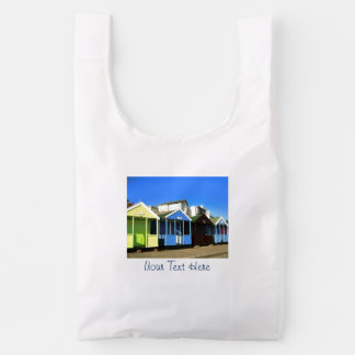 Beach huts blue skies english seaside photo reusable bag