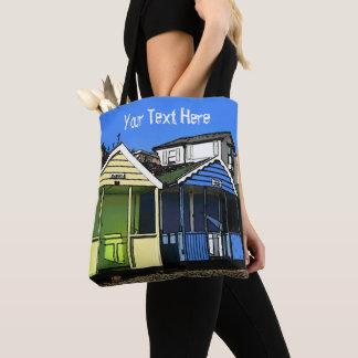 Beach huts blue skies english summer seaside photo tote bag