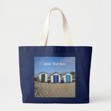 Beach Themed Beach huts blue skies sand english seaside photo large tote bag