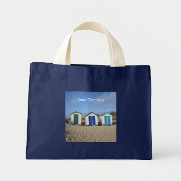 Beach Themed Beach huts blue skies sand english seaside photo mini tote bag