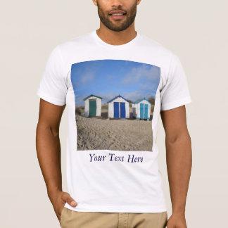 Beach huts blue skies sand english seaside photo T-Shirt