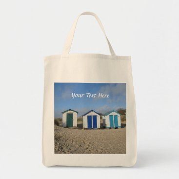 Beach Themed Beach huts blue skies sand english seaside photo tote bag