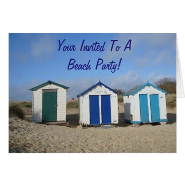 Beach Themed Beach huts blue skies seaside sandy beach photo card