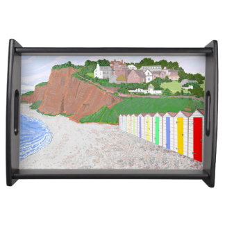 Beach huts Budleigh Salterton, Devon, UK picture Food Tray