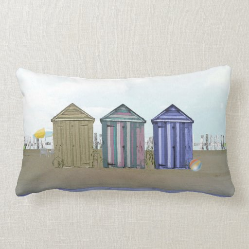 Beach huts by the Seaside Art Pillow