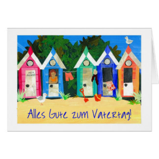 Beach Huts Father's Day Card - German Greeting