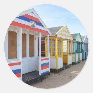 Beach Huts In Eastern England Classic Round Sticker