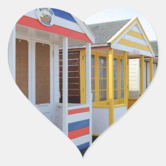 Beach Huts In Eastern England Heart Sticker