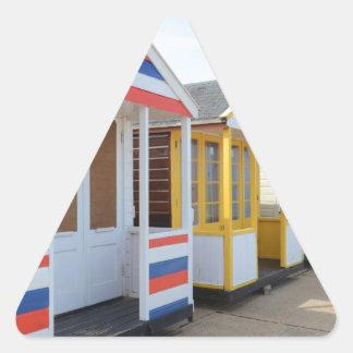 Beach Huts In Eastern England Triangle Sticker