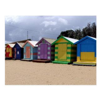 Beach Huts Melbourne 2 Postcard
