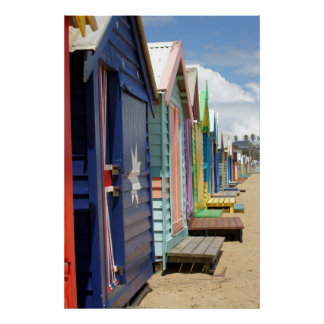 Beach Huts Melbourne Side Poster