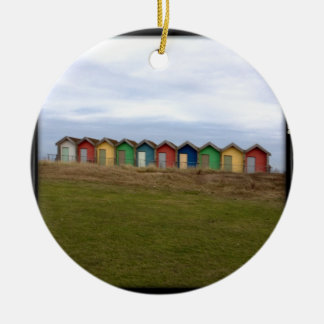 Beach Huts Double-Sided Ceramic Round Christmas Ornament
