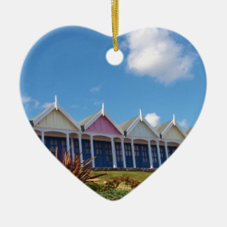 Beach Huts Double-Sided Heart Ceramic Christmas Ornament