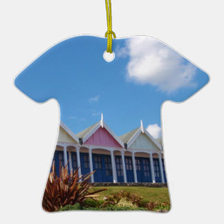 Beach Huts Double-Sided T-Shirt Ceramic Christmas Ornament