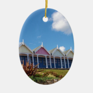 Beach Huts Double-Sided Oval Ceramic Christmas Ornament