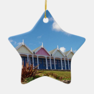 Beach Huts Double-Sided Star Ceramic Christmas Ornament