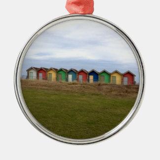 Beach Huts Round Metal Christmas Ornament