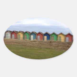 Beach Huts Oval Sticker