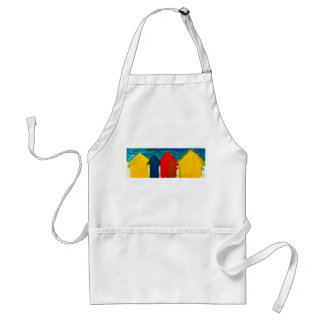 Beach huts painting adult apron