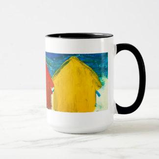 Beach huts painting mug