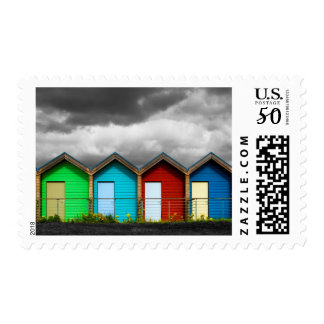 Beach Huts Postage Stamp