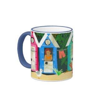 """Beach Huts"" Ringer Mug"