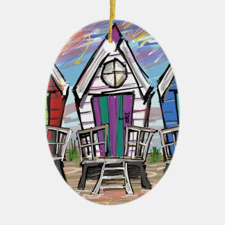 Beach Huts RWB Double-Sided Oval Ceramic Christmas Ornament