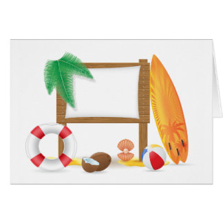 Beach Icons Note Cards