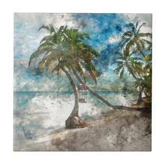 Beach in Ambergris Caye Belize Tile