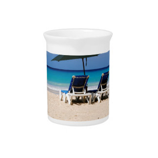 Beach in Barbados Beverage Pitcher