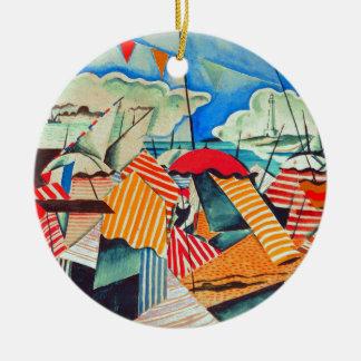Beach in Biarritz (France) by Bedrich Feurstein Ceramic Ornament