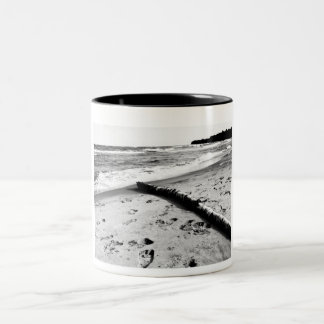 Beach in Black and White Two-Tone Coffee Mug