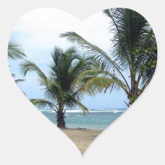 Beach in Dominican Republic Heart Sticker