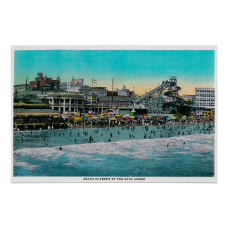 Beach in front of the Bath House, Long Beach Posters