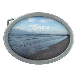 Beach in Greece Oval Belt Buckles