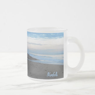 Beach in Mundesley, Norfolk by Alexandra Cook Frosted Glass Coffee Mug