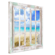 Beach in Open Window coastal cottage wrapped Stretched Canvas Prints