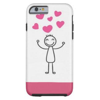 Beach Iphone 6 Case/Stick Figure with Hearts Tough iPhone 6 Case