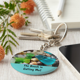 Beach is Calling Me! key chains Sea Glass Agates