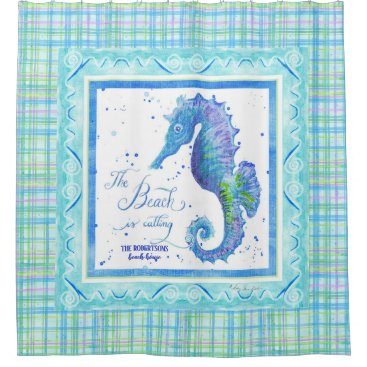Beach Themed Beach is Calling Seahorse Ocean Decor Watercolor Shower Curtain