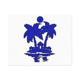 beach island houses blueoutline invert png gallery wrap canvas