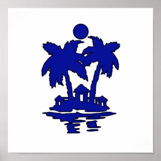 beach island houses blueoutline invert.png poster