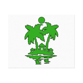 beach island houses green outline invert png gallery wrapped canvas