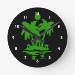 beach island houses green outline invert.png round wall clocks