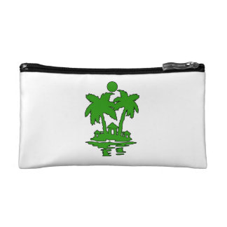 beach island houses green outline invert.png cosmetic bag