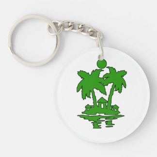 beach island houses green outline invert.png Double-Sided round acrylic keychain