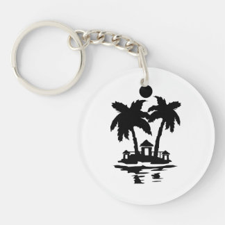 beach island houses invert.png Double-Sided round acrylic keychain