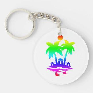 beach island houses rainbow invert.png Double-Sided round acrylic keychain